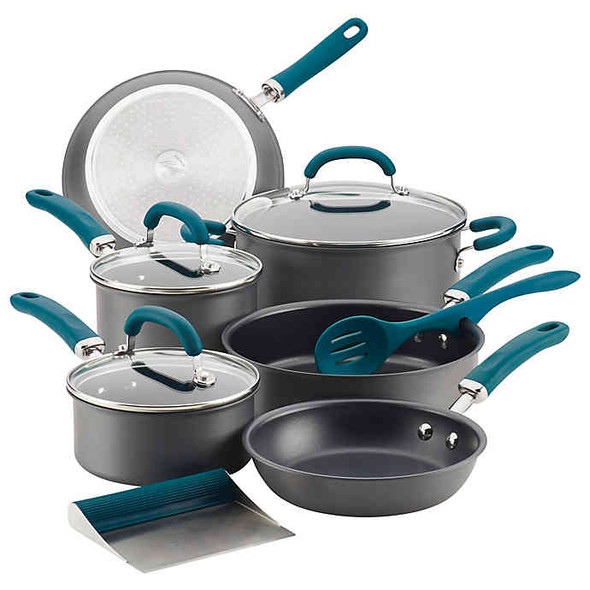 Rachael Ray™ Create Delicious Nonstick Hard-Anodized 11-Piece Cookware Set in Grey/Teal