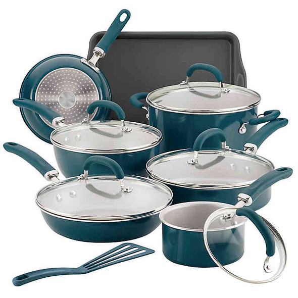 Rachael Ray™ Create Delicious Nonstick Aluminum 13-Piece Cookware Set in Teal