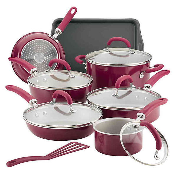 Rachael Ray™ Create Delicious Nonstick Aluminum 13-Piece Cookware Set in Red
