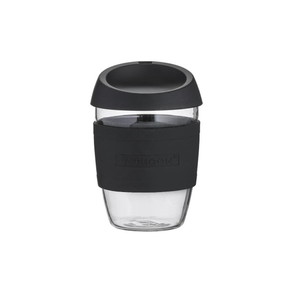 Typhoon 13.5 oz. Glass Reusable Coffee Cup in Black
