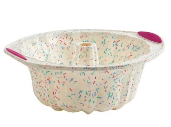 Trudeau® 10-Cup Silicone Fluted Cake Pan in White Confetti