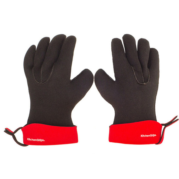 KitchenGrips FLXaPrene Small Chef's Gloves in Red/Black (Set of 2)