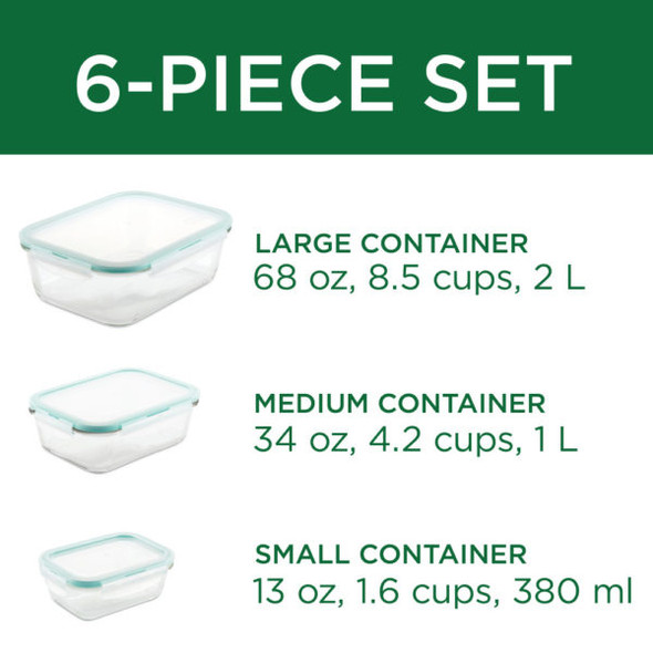 Lock & Lock Purely Better™ Glass 6-Piece Assorted Food Storage Containers