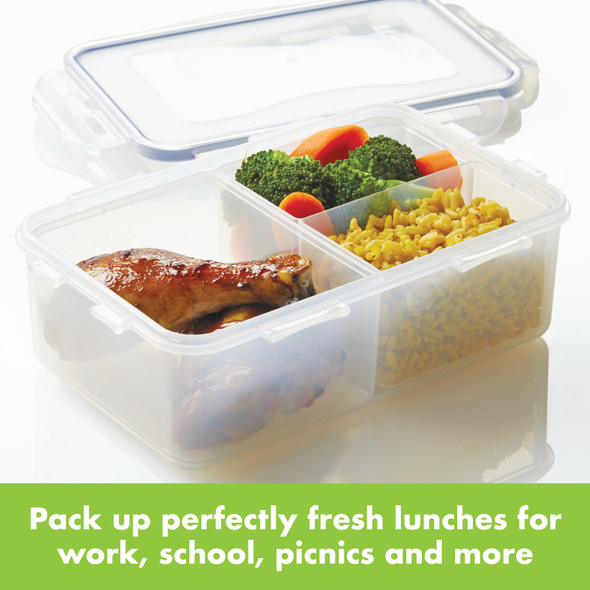 Lock & Lock Easy Essentials™ On The Go Meals 33-Ounce Divided Rectangular Food Storage Container