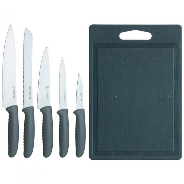 Viners Speckle 5-Piece Knife Set with Chopping Board