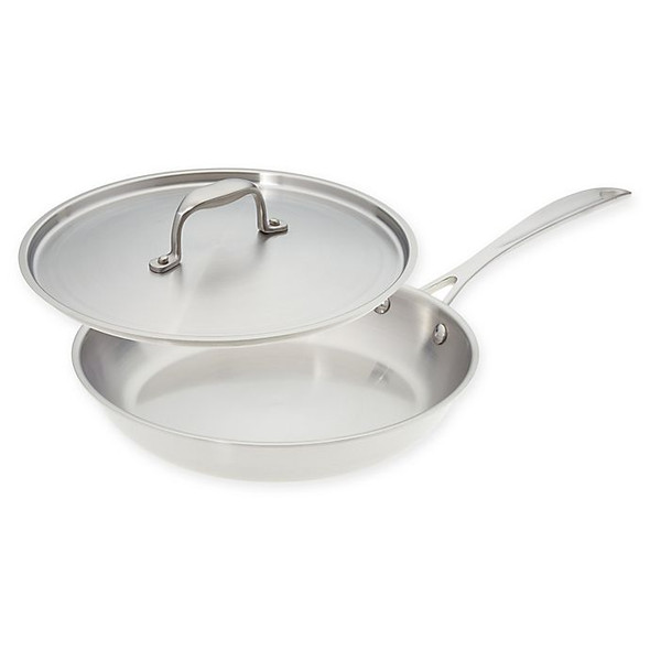 American Kitchen® Tri-Ply 12-Inch Stainless Steel Covered Skillet