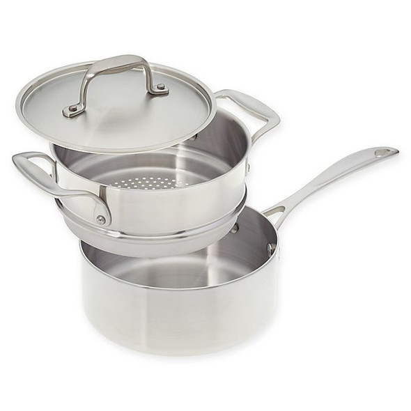 American Kitchen® Tri-Ply 2 qt. Stainless Steel Covered Saucepan with Steamer Insert