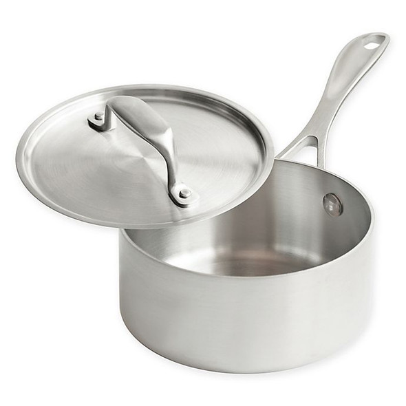 American Kitchen® 1 qt. Tri-Ply Stainless Steel Covered Saucepan