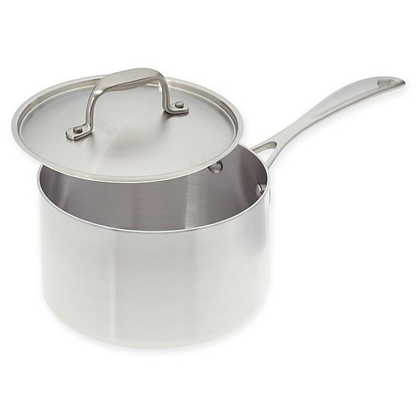 American Kitchen® 3 qt. Tri-Ply Stainless Steel Covered Saucepan