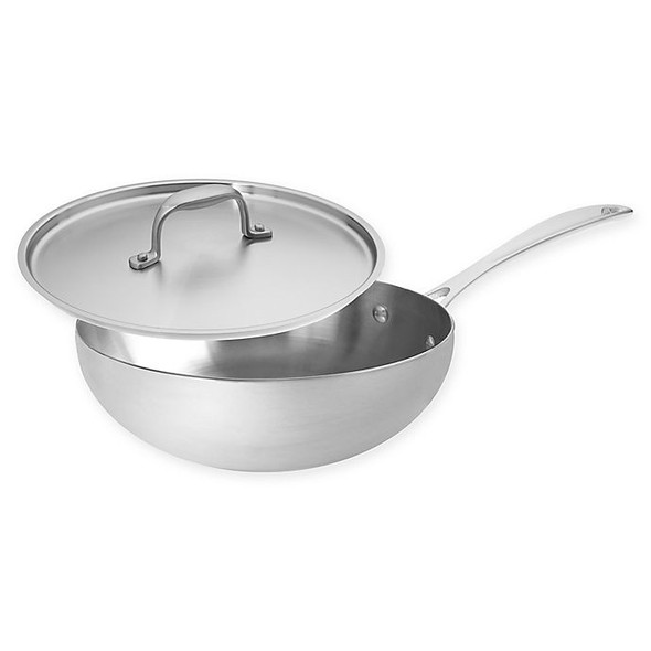 American Kitchen® 3 qt. Tri-Ply Stainless Steel Covered Saucier