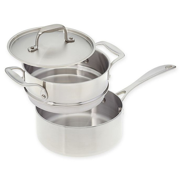 American Kitchen® Tri-Ply 3qt. Stainless Steel Covered Saucepan with Double Boiler Insert