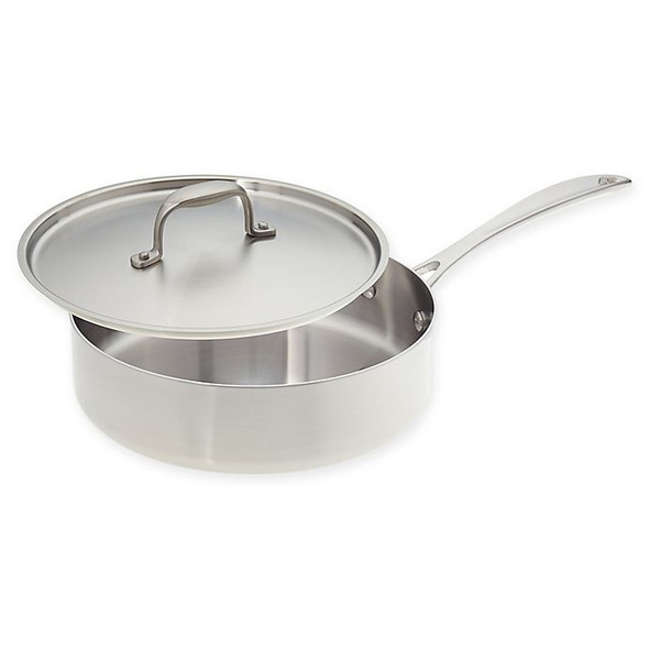 American Kitchen® Tri-Ply 12-Inch Stainless Steel Covered Saute Pan