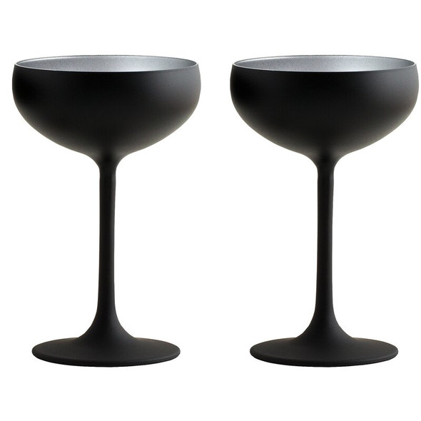 Stölzle Lausitz Olympia Champagne Coupes in Black/Silver (Set of 2)