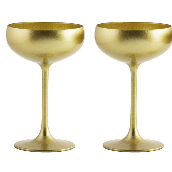 Stölzle Lausitz Olympia Champagne Coupes in Gold (Set of 2)