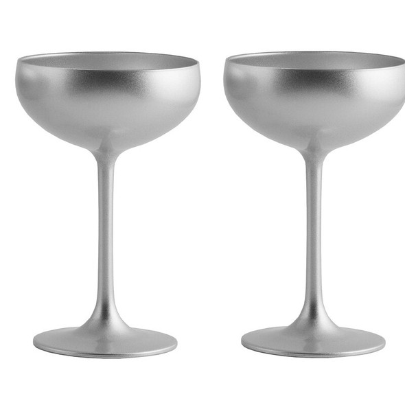 Stölzle Lausitz Olympia Champagne Coupes in Silver (Set of 2)