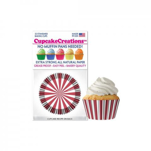 Cupcake Creations Red Circus Stripes Bake Cups (32 Pack)