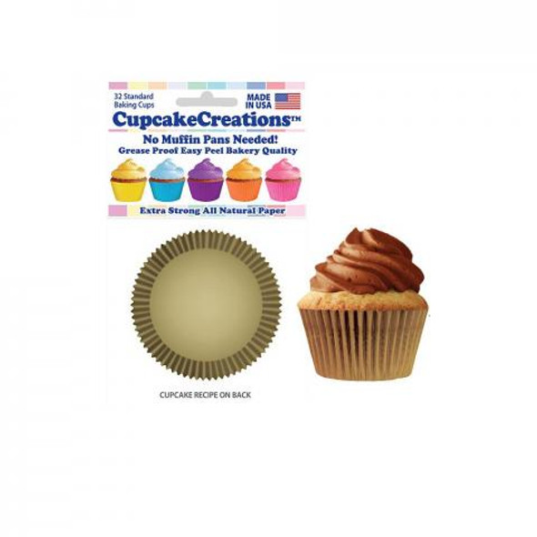 Cupcake Creations Solid Gold Baking Cups (32 Pack)