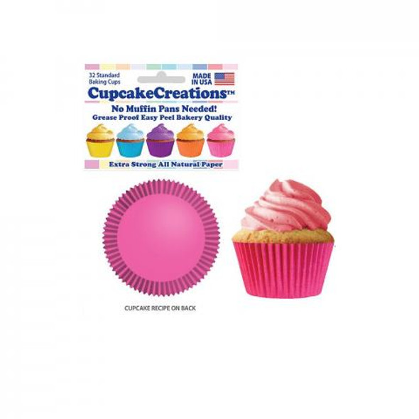 Cupcake Creations Solid Pink Baking Cups (32 Pack)