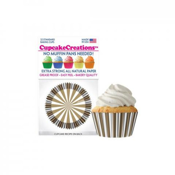 Cupcake Creations Gold & White Stripes Baking Cups (32 Pack)