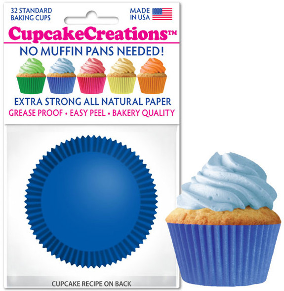 Cupcake Creations Solid Blue Baking Cups (32 Pack)