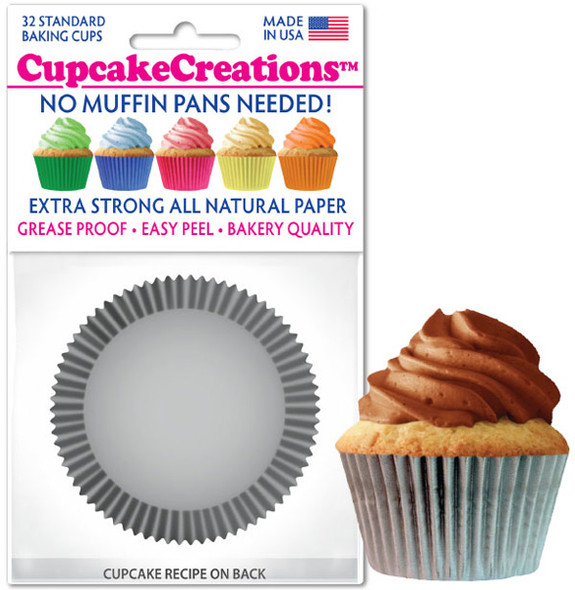 Cupcake Creations Solid Silver Baking Cups (32 Pack)