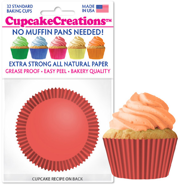 Cupcake Creations Solid Coral Baking Cups (32 Pack)