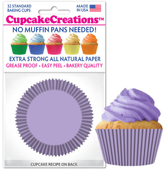 Cupcake Creations Solid Lavender Baking Cups (32 Pack)