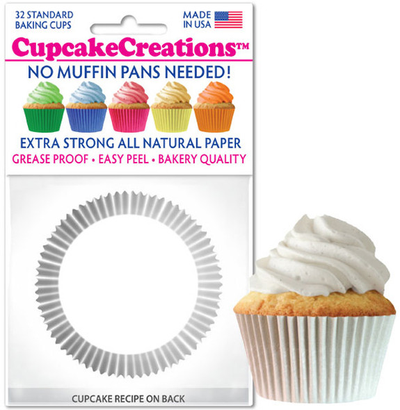 Cupcake Creations Solid White Baking Cups (32 Pack)