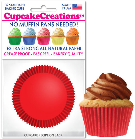 Cupcake Creations Solid Red Baking Cups (32 Pack)