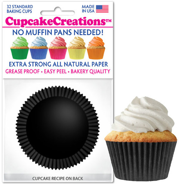 Cupcake Creations Solid Black Baking Cups (32 Pack)