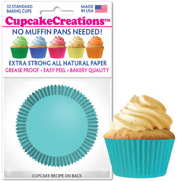 Cupcake Creations Solid Turquoise Baking Cups (32 Pack)