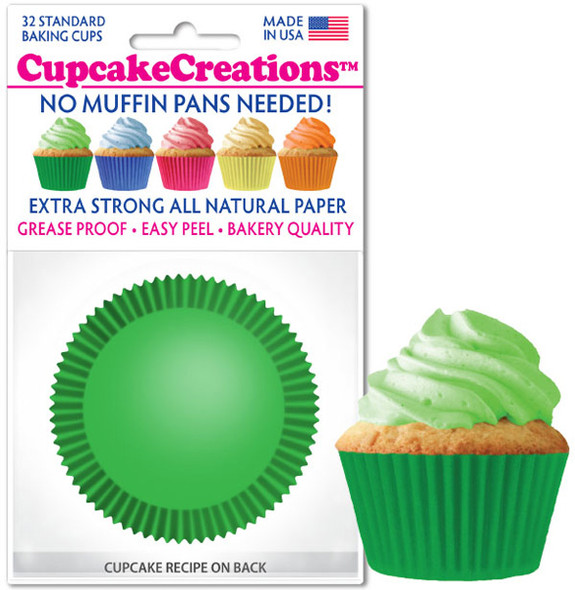 Cupcake Creations Solid Green Baking Cups (32 Pack)