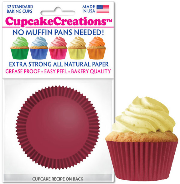 Cupcake Creations Solid Burgundy Baking Cups (32 Pack)