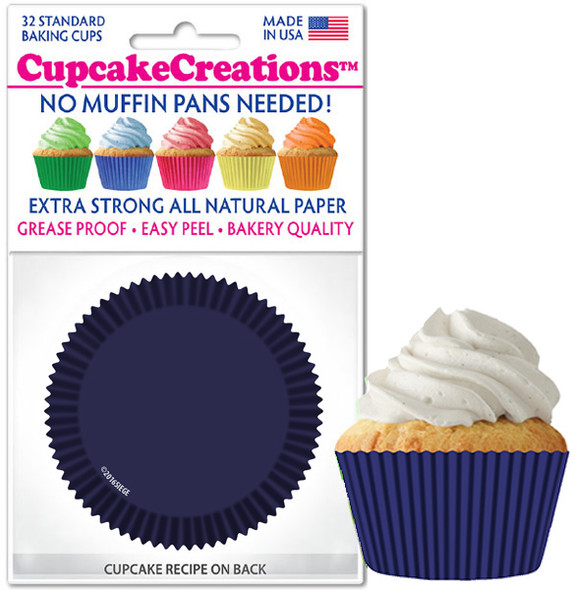 Cupcake Creations Solid Navy Baking Cups (32 Pack)