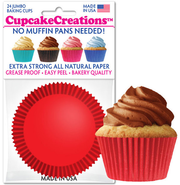 Cupcake Creations Jumbo Solid Red Baking Cups (24 Pack)