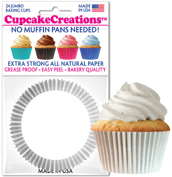 Cupcake Creations Jumbo Solid White Baking Cups (24 Pack)