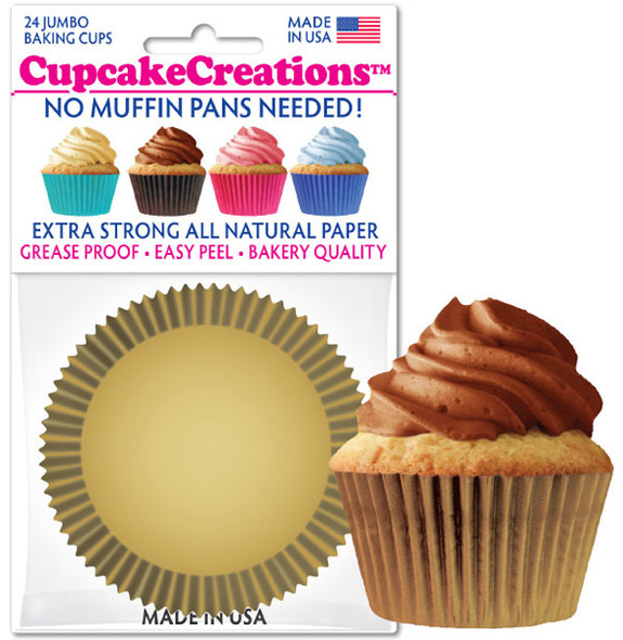 Cupcake Creations Jumbo Solid Gold Baking Cups (24 Pack)