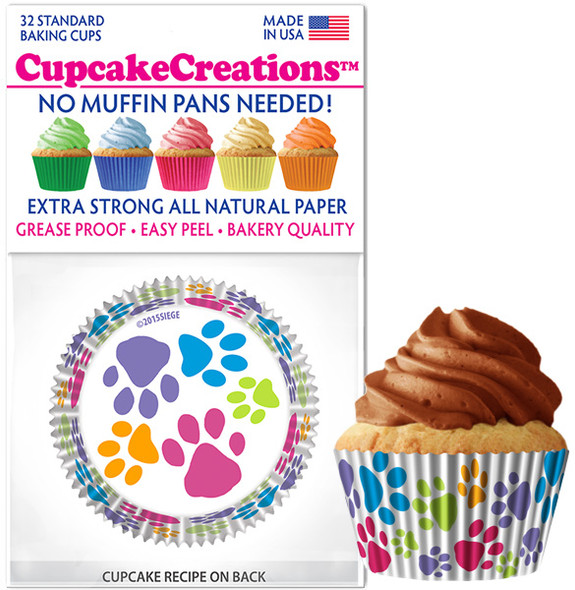 Cupcake Creations Paw Prints Baking Cups (32 Pack)
