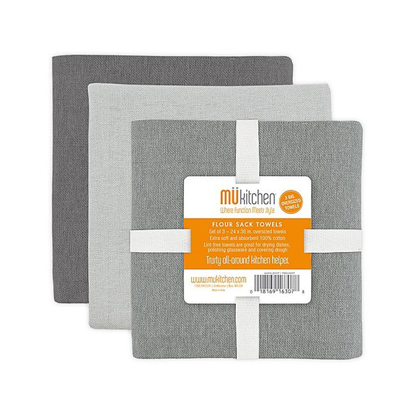 MU Kitchen™ Flour Sack Dish Towels in Grey (Set of 3)