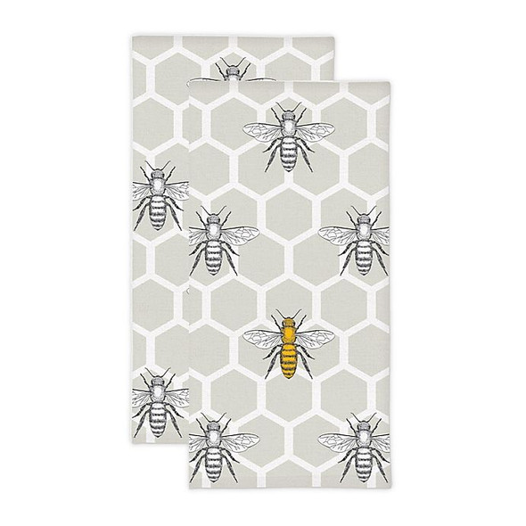 MU Kitchen™ Bee Hive Kitchen Towels in Beige (Set of 2)