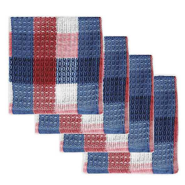 MU Kitchen™ Nana's Dish Cloths in Red/White/Blue (Set of 4)