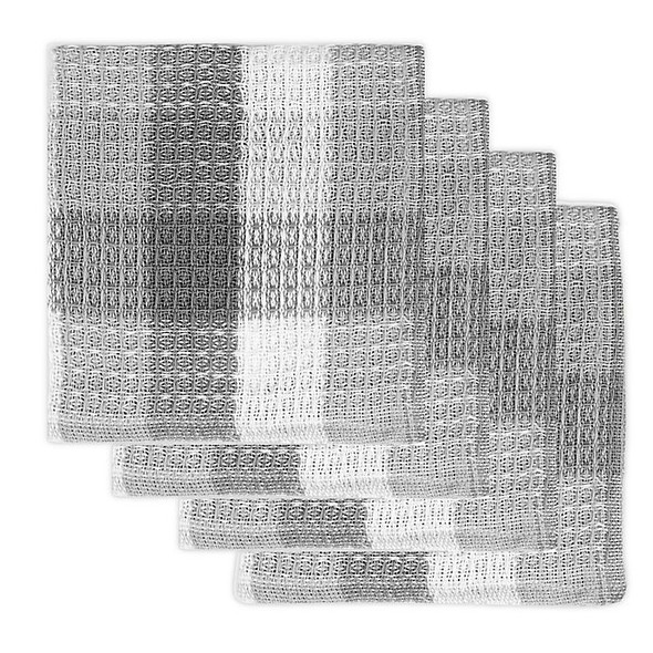 MU Kitchen™ Nana's Dish Cloths in Gray/White (Set of 4)