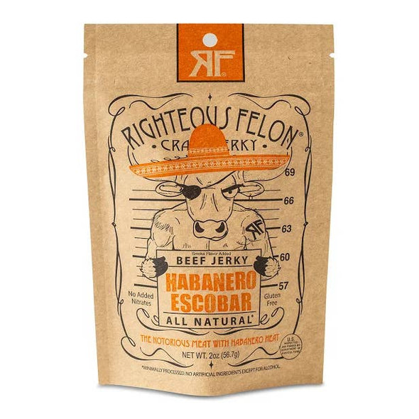 Righteous Felon Craft Jerky 2 oz. Habanero Escobar Beef Jerky