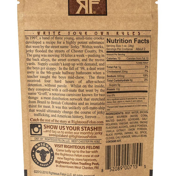 Righteous Felon Craft Jerky 2 oz. Bourbon Franklin Beef Jerky