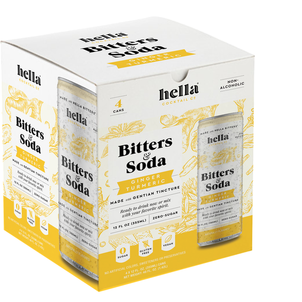 Hella 12 oz. Can Bitters & Soda Ginger (4-Pack)