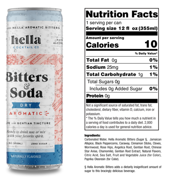 Hella 12 oz. Can Bitters & Soda Dry Aromatic (4-Pack)