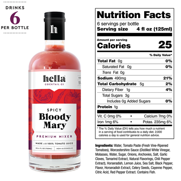 Hella 25.4 oz. Spicy Bloody Mary Cocktail Mixer