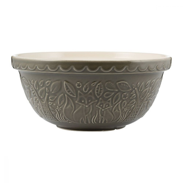 Mason Cash® 4.25 qt. In the Forest Fox Embossed Mixing Bowl in Grey