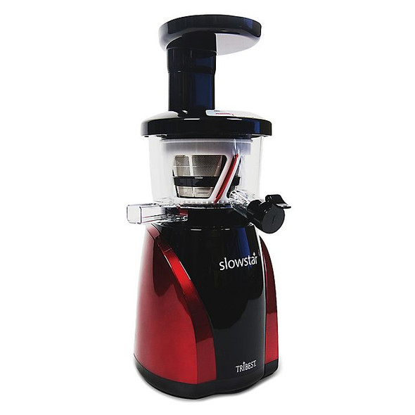 Tribest® Slowstar Vertical Cold Press Juicer with Mincing in Black/Red