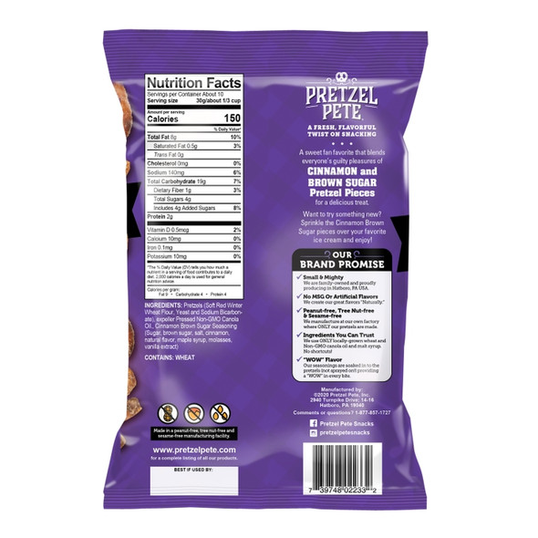 Pretzel Pete 10.5 oz. Cinnamon Brown Sugar Broken Pretzel Pieces (4 Pack)